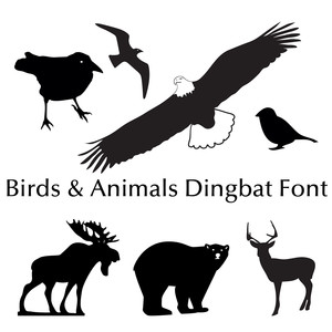 birds and animals dingbat font