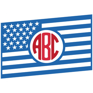 flag monogram frame