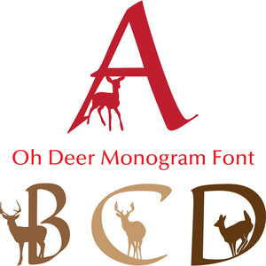 oh deer christmas monogram font