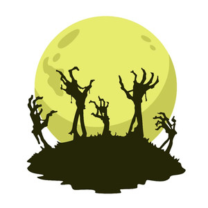 halloween zombie hands and moon