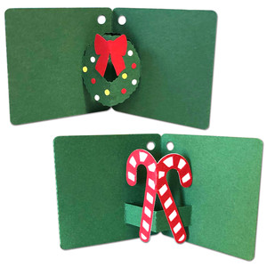 pop-up wreath and candy cane gift tags