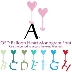 qfd balloon heart monogram font