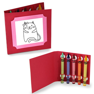 happy birthday coloring cards - cat with a bow