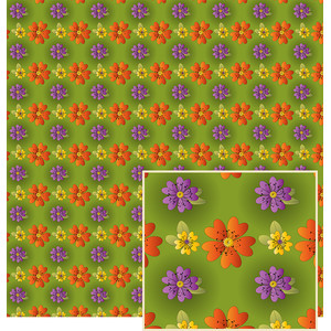 halloween colored flowers pattern
