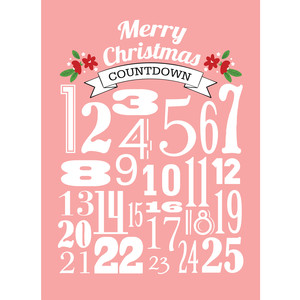 advent modern numbers print 8x10 pink