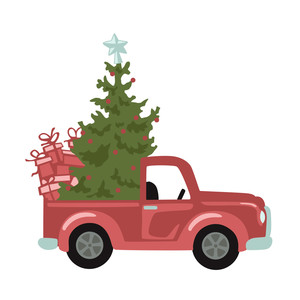 christmas tree in retro truck