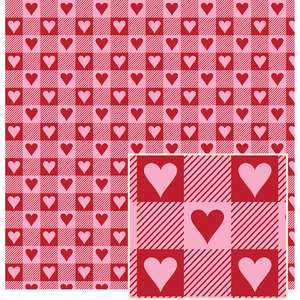 red and pink w/hearts buffalo plaid pattern