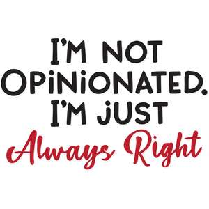 i'm not opinionated i'm just always right