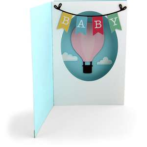 shadow box card front flap baby