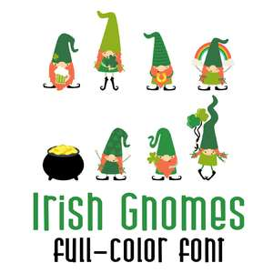 irish gnomes color font