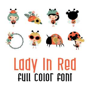 lady in red full color font