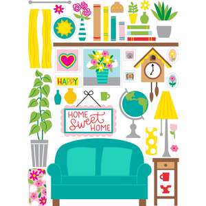 dollhouse living room stickers