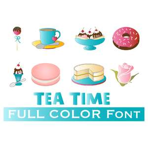 full-color tea party dingbats font