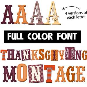 thanksgiving montage color font