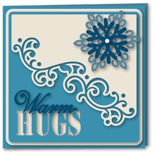 snowflakes diagonal flourish card