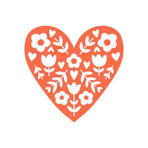 folk flower heart