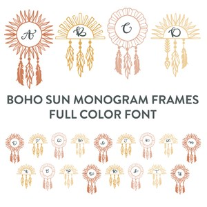 boho sun monogram frames full color font