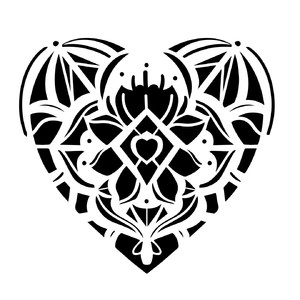 mandala heart full shape lotus flower