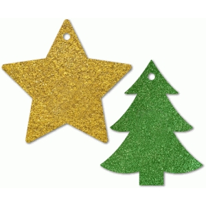 2 christmas gift tags: tree & star