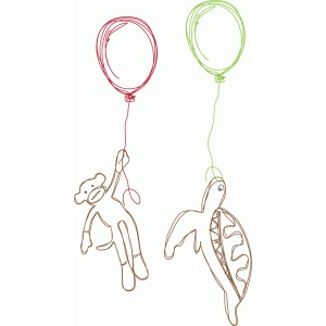 turtle and monkey balloon sketch