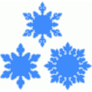 layered snowflakes set