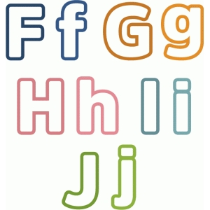 outline block letters f-j