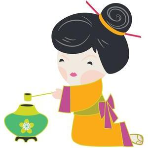kokeshi with kettle
