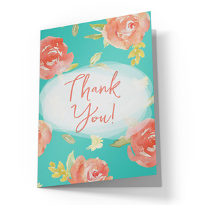 cute watercolor flower thank you card
