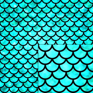 mermaid scales green aqua pattern