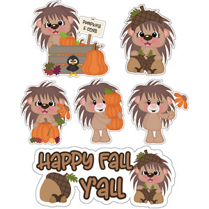 fall hedgehogs stickers