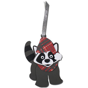 winter raccoon gift tag ornament