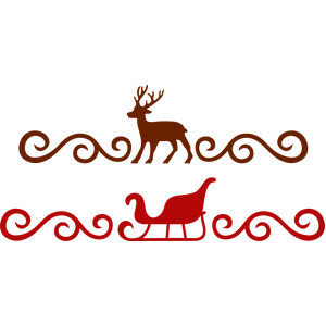 reindeer and sleigh swirls borders