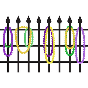 mardi gras beads fence
