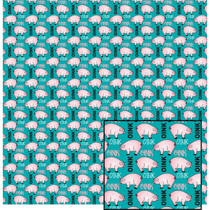 pig pattern on blue