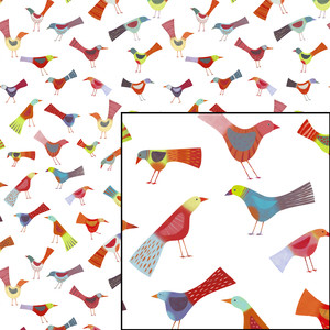 birds doing bird things repeat pattern