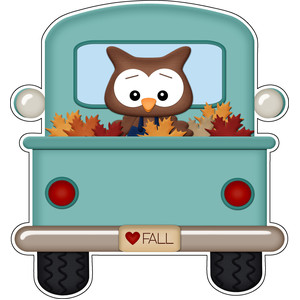autumn owl in farm truck sticker
