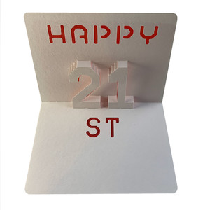 happy 21st popup card
