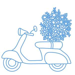 moped with flowers