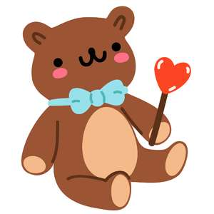 kawaii teddy bear with heart lollipop