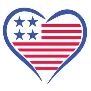 american flag heart design