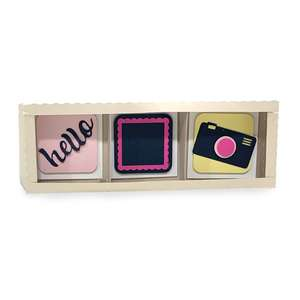 shadow box frame - 3 openings hello