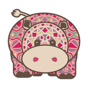 multi layer mandala cute hippo