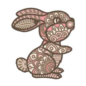multi layer mandala cute baby bunny rabbit