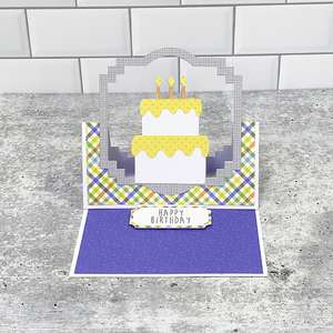 floating easel card birthday cake