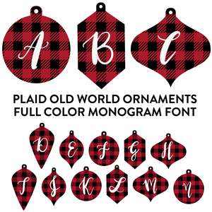 plaid old world ornaments full color monogram font