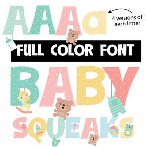 baby squeaks color font
