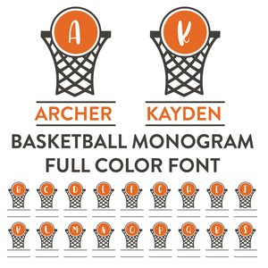basketball monogram frame full color font