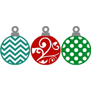 3 decorative christmas ornaments