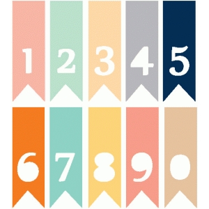 set of 10 number banners / flags
