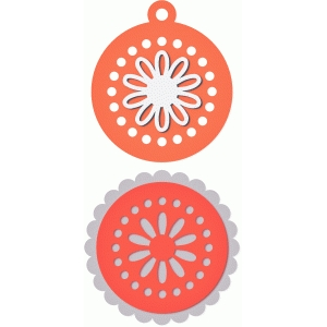 2 scalloped flower tag topper circles